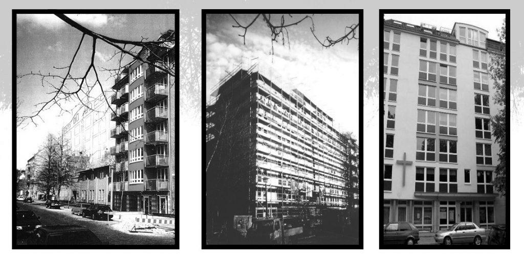 Drei Schwarz-Weiß-Fotos nebeneinander. Links das alte Gemeindehaus, ein niedriges Gebäude mit einem achtstöckigen Nachbargebäude. In der Mitte ein Foto des Neubaus, noch mit Gerüst. Auf dem rechten Foto ein Teil der Fassade des fertigen Neubaus.