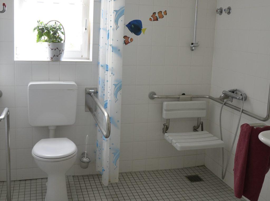 Ein großes Bad. Im Hintergrund ein Fenster, darunter eine Toilette. Rechts daneben eine ebenerdige Dusche mit einem hochklappbaren Duschstuhl.  Neben der Toilette und in der Dusche gibt es Haltegriffe.