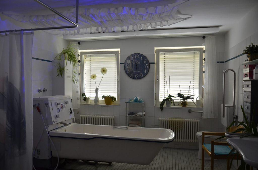 Ein großes Bad mit zwei Fenstern. In der Mitte steht eine große verstellbare Badewanne. Es gibt Pflanzen auf den Fensterbänken und einen Lichterhimmel über der Badewanne.