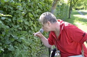 Dagmar steht vor einer grünen Hecke. Sie beugt sich nach vorne und riecht an einer Blume. Sie trägt ein rotes Shirt.