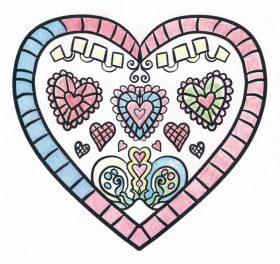 Ein gezeichnetes Herz mit verschiedenen Mustern. Das Herz ist mit bunten Farben ausgemalt.